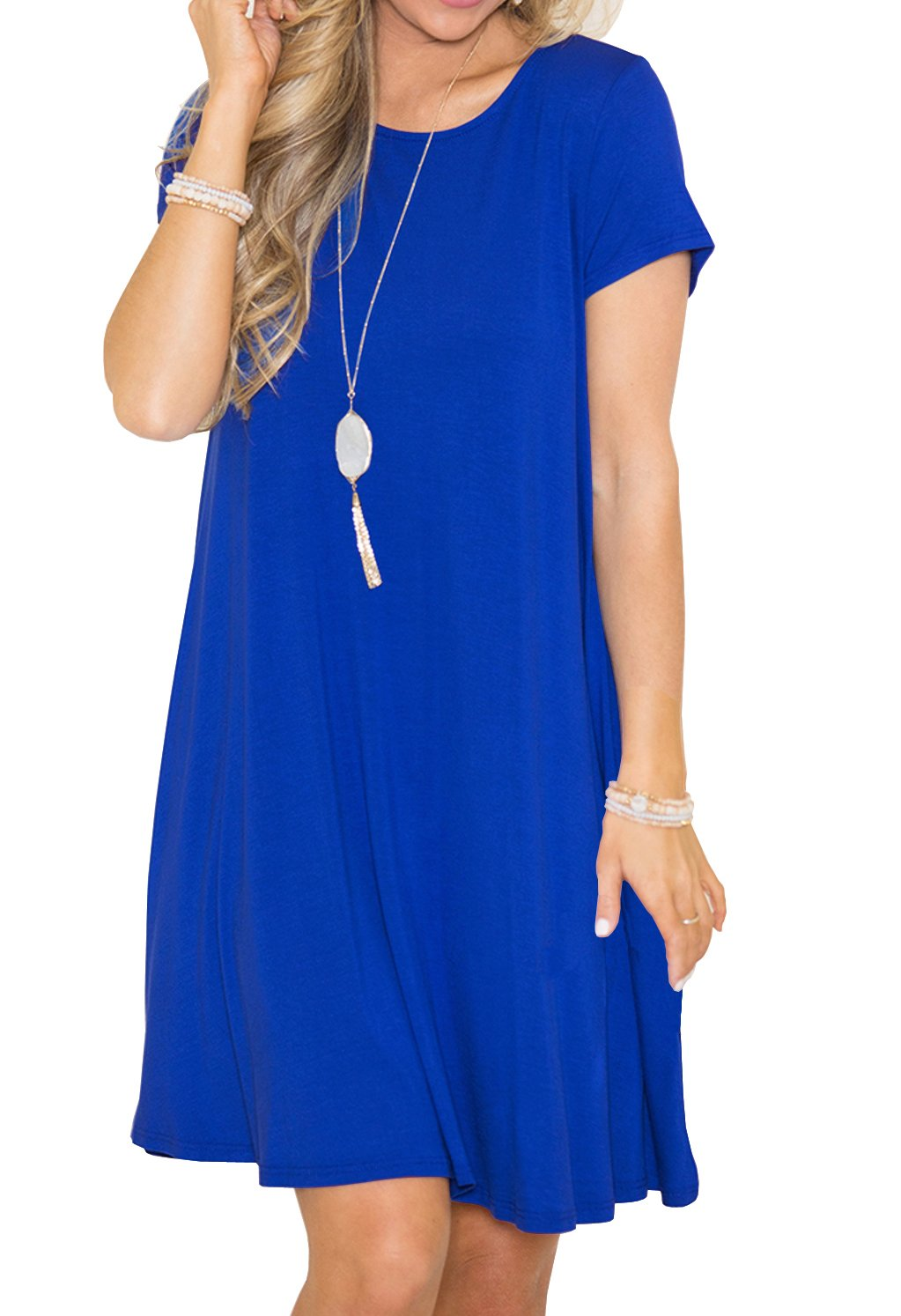 GRECERELLE Women's Short Sleeve Summer Casual Swing T-Shirt Dresses Royal Blue-M