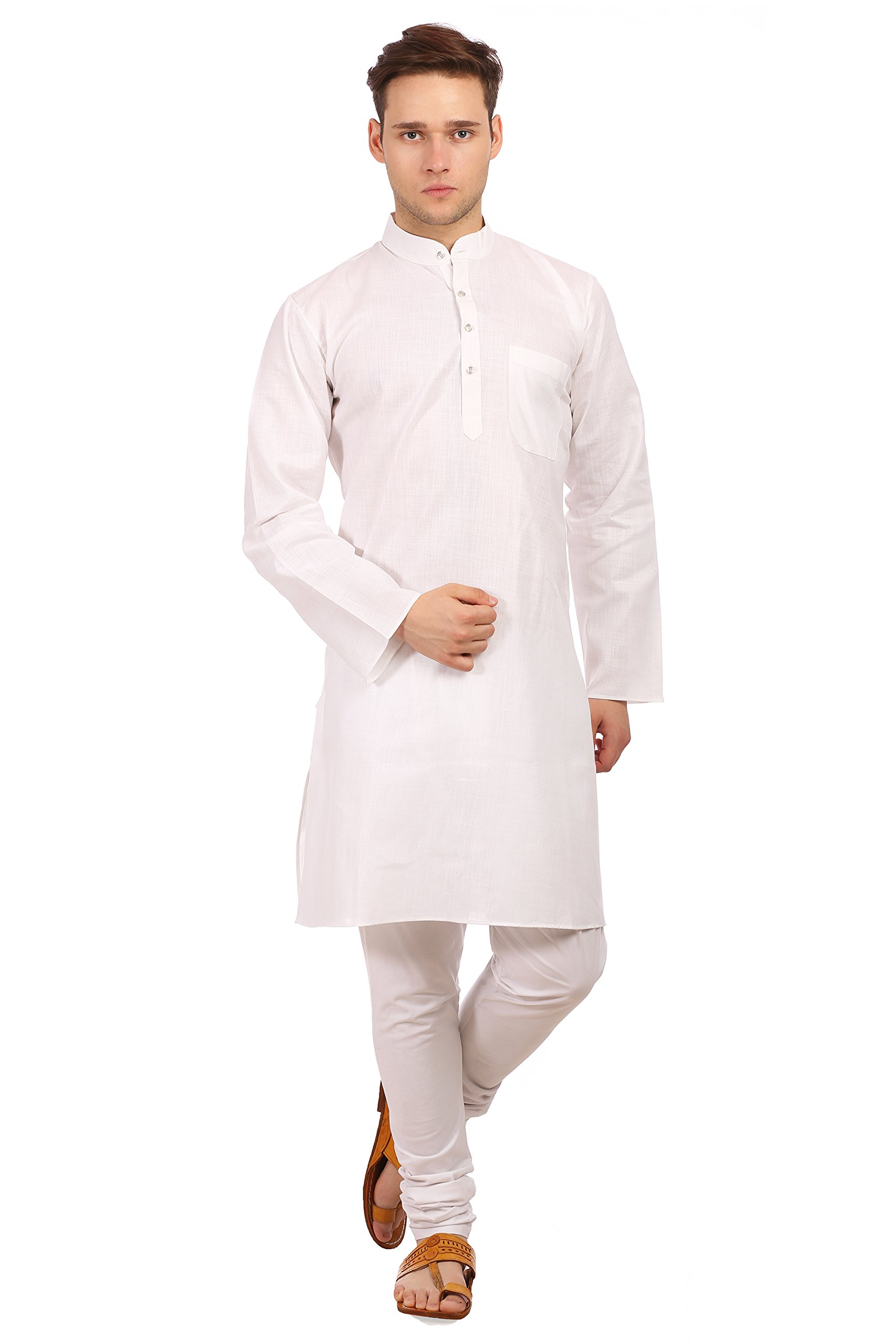Wintage Men's Cotton Silk Festive and Casual White Kurta Pyjama