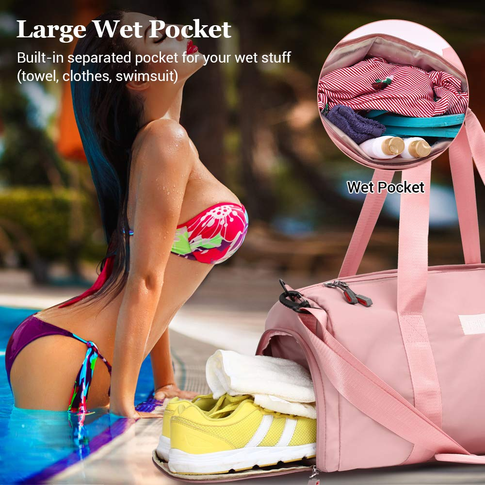 Sports Gym Bag with Wet Pocket Shoes Compartment Waterproof Swim Overnight Travel Duffel Bag for Women and Men 20-35L pink