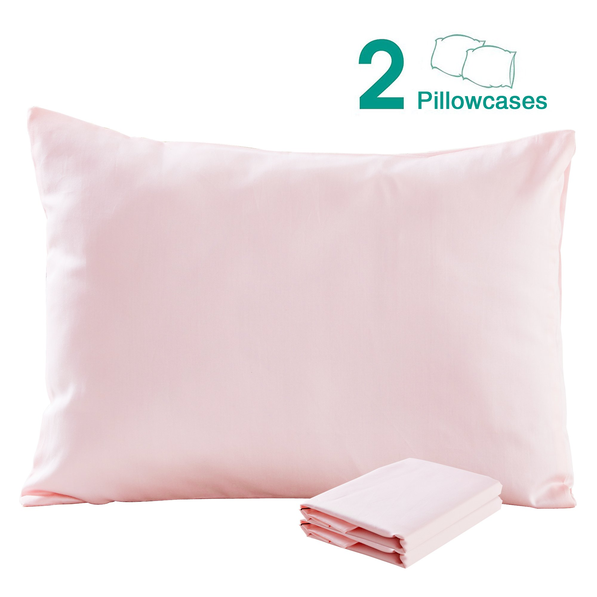 """100% Cotton Sateen Toddler Pillowcases Set of 2, Soft and Cozy, 13""""x 18"""", Pink by NTBAY"""