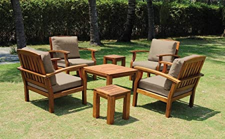Landmann Buckingham 7-Piece Arm Chair and Table Patio Set with Waterproof Cushions – 61940