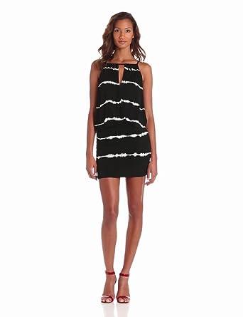 Young Fabulous & Broke Womens Dyna Halter Skinny Stripe Mini Dress, Black, Medium