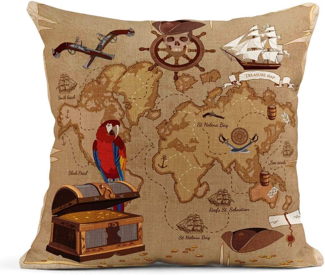 Kinhevao Cojín Viejo Pirata Mapa del Tesoro Cofre Loro ...