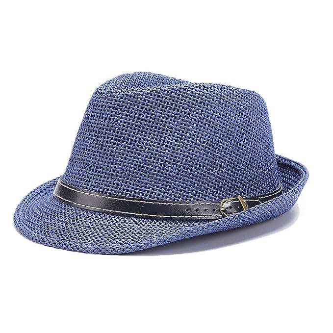 674fac3a06537 Sombrero Trilby Sombrero de Panamá Hombres Muchacho Paja Verano Sombrero  Azul  Amazon.es  Ropa y accesorios