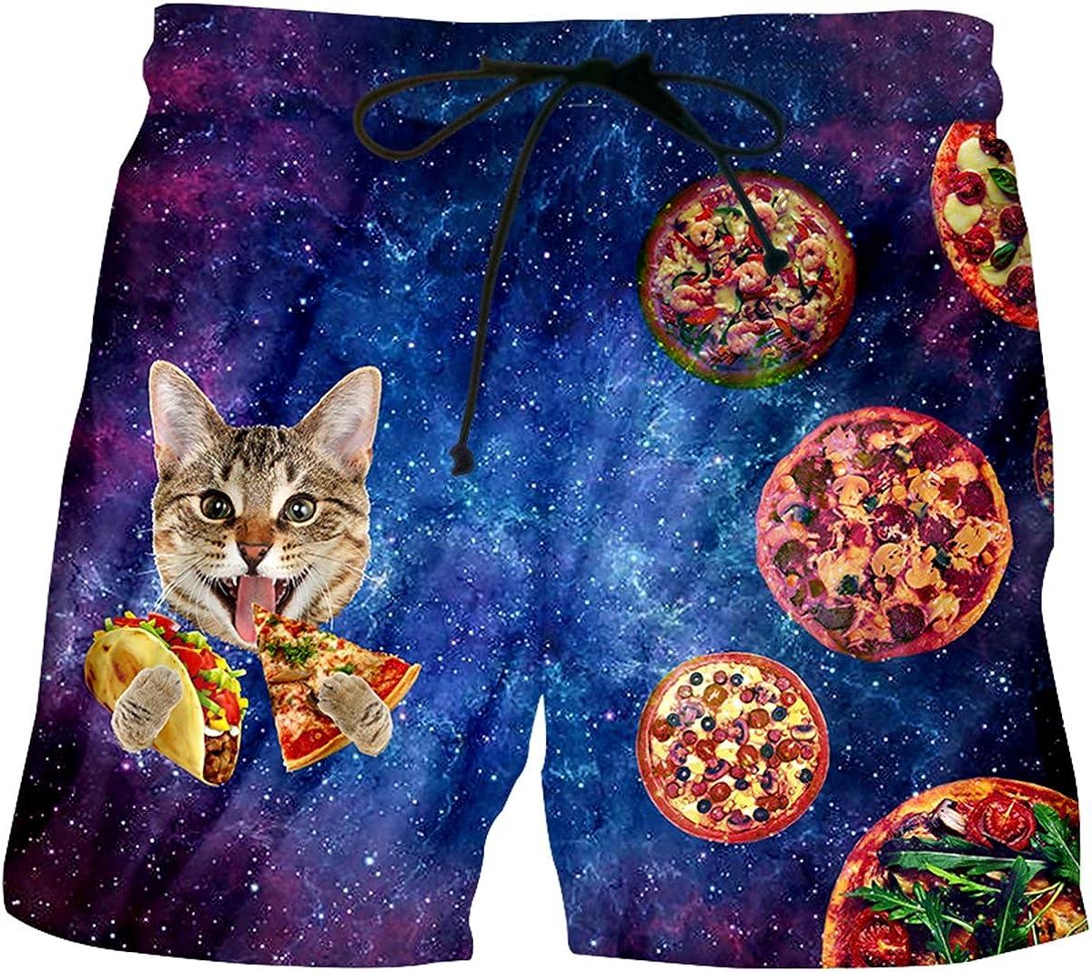 pinata Cat Mens Shorts Casual Graphic Medium Length Swim Shorts for Men