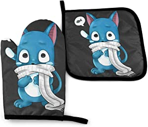 667 Happy Fairy Tail -Oven Mitts and Pot Holders Heat Resistant Kitchen Bake Gloves Cooking Gloves