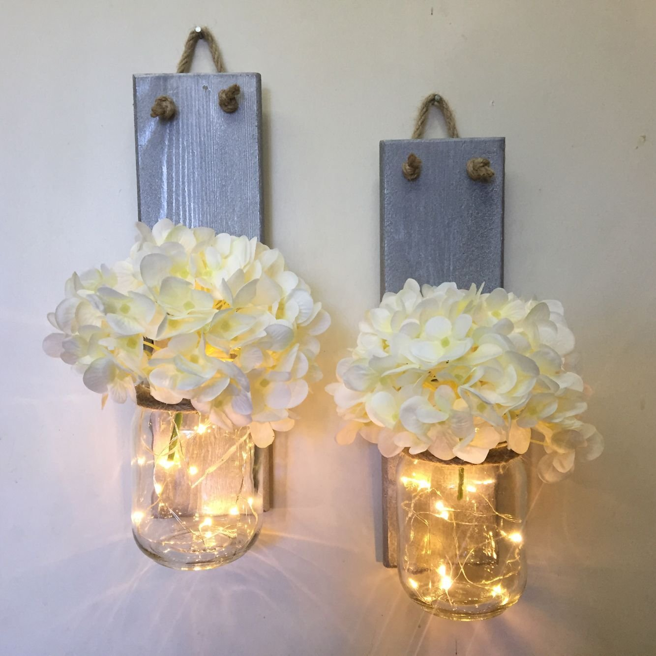 Rustic Mason Jar Sconce With Lights, Lighted Mason Jar Sconce with Flowers, Mason Jar Wall Decor Shabby Chic Silver Wood Wall Sconce, Rustic Wall Decor