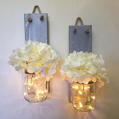 Amazon Com Rustic Mason Jar Sconce With Lights Lighted Mason Jar