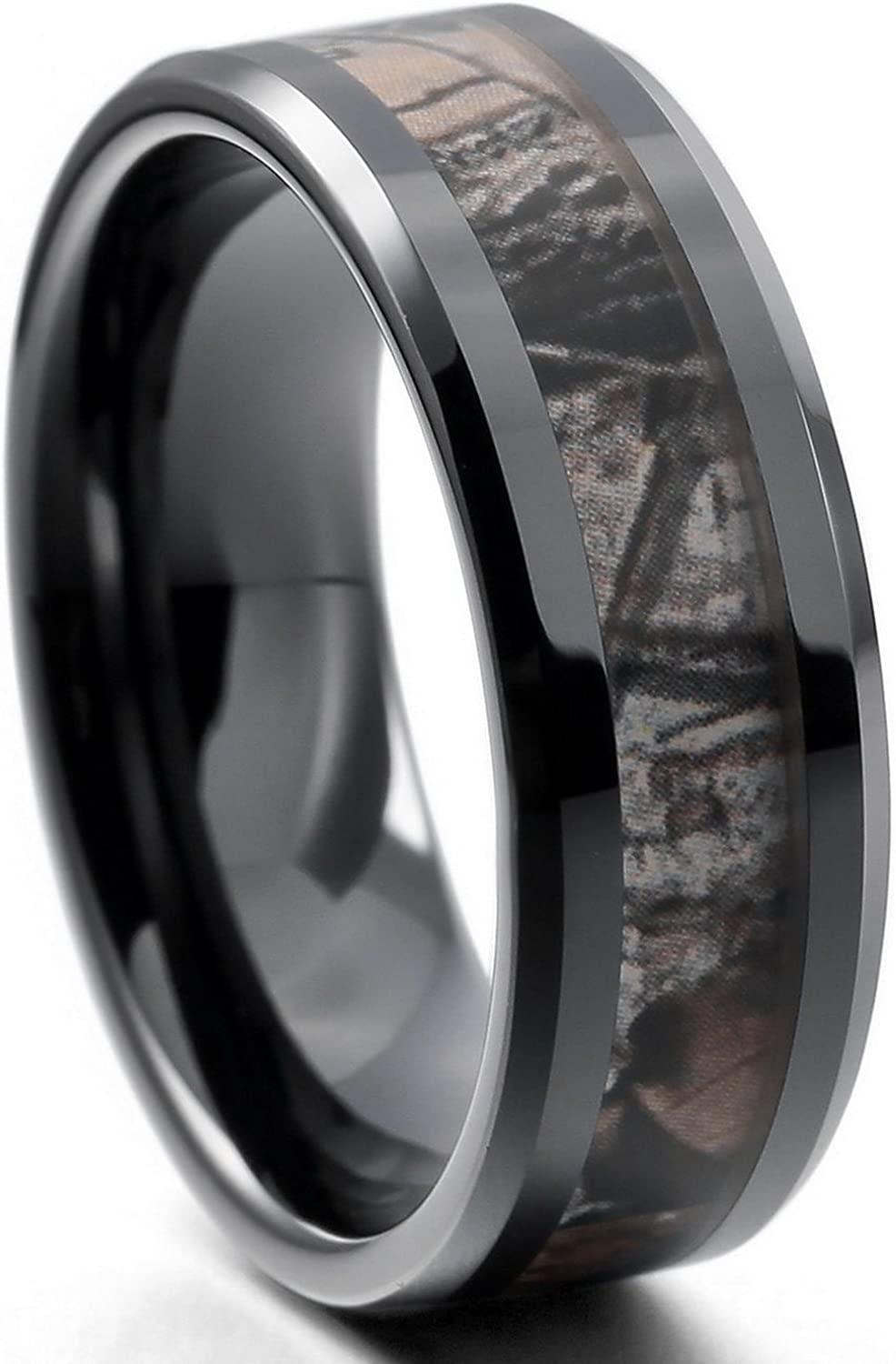 FB Jewels Tungsten Black Cubic Zirconia CZ Step Edges Mens Comfort-fit 6mm Wedding Anniversary Band Ring