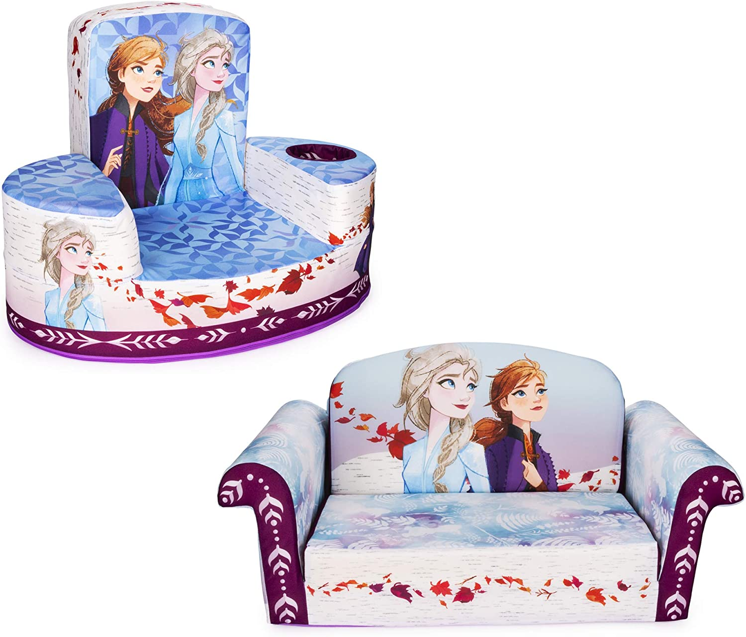 Marshmallow Furniture Comfy Foam Toddler 2-in-1 Flip-Open Couch and Chair Kids Furniture Package for Ages 2 Years Old and Up, Disney Frozen 2