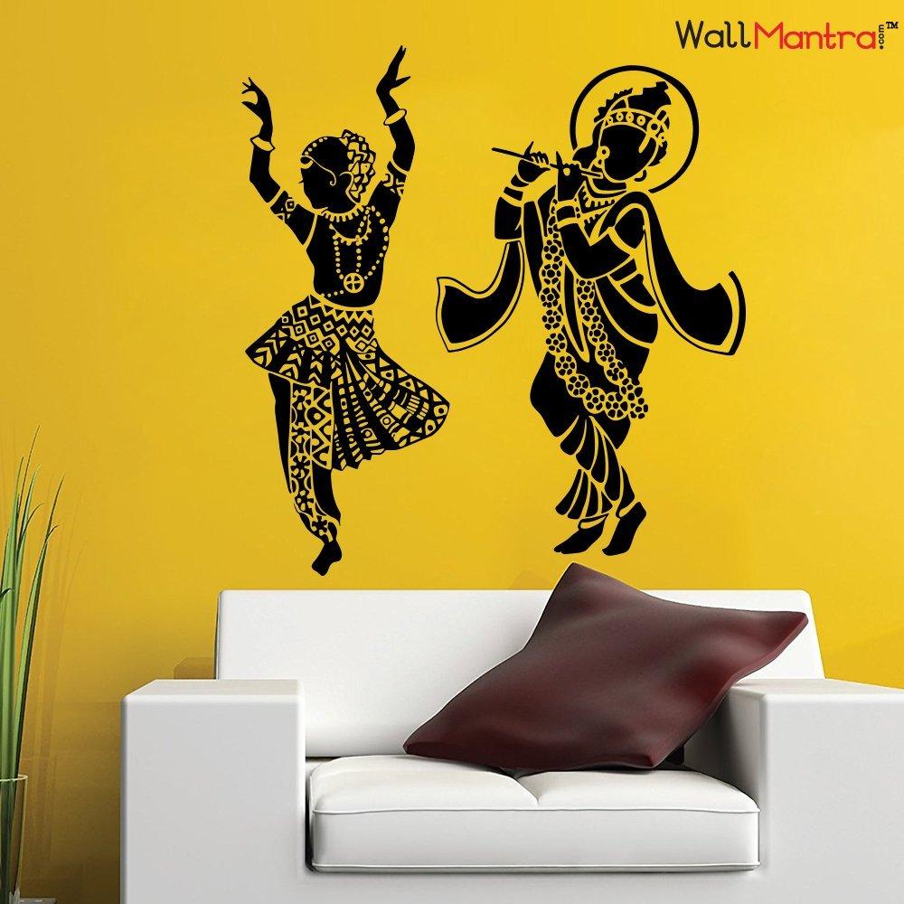WallMantra Radha Krishna Dancing Wall Sticker (116cm X 122 cm height ...