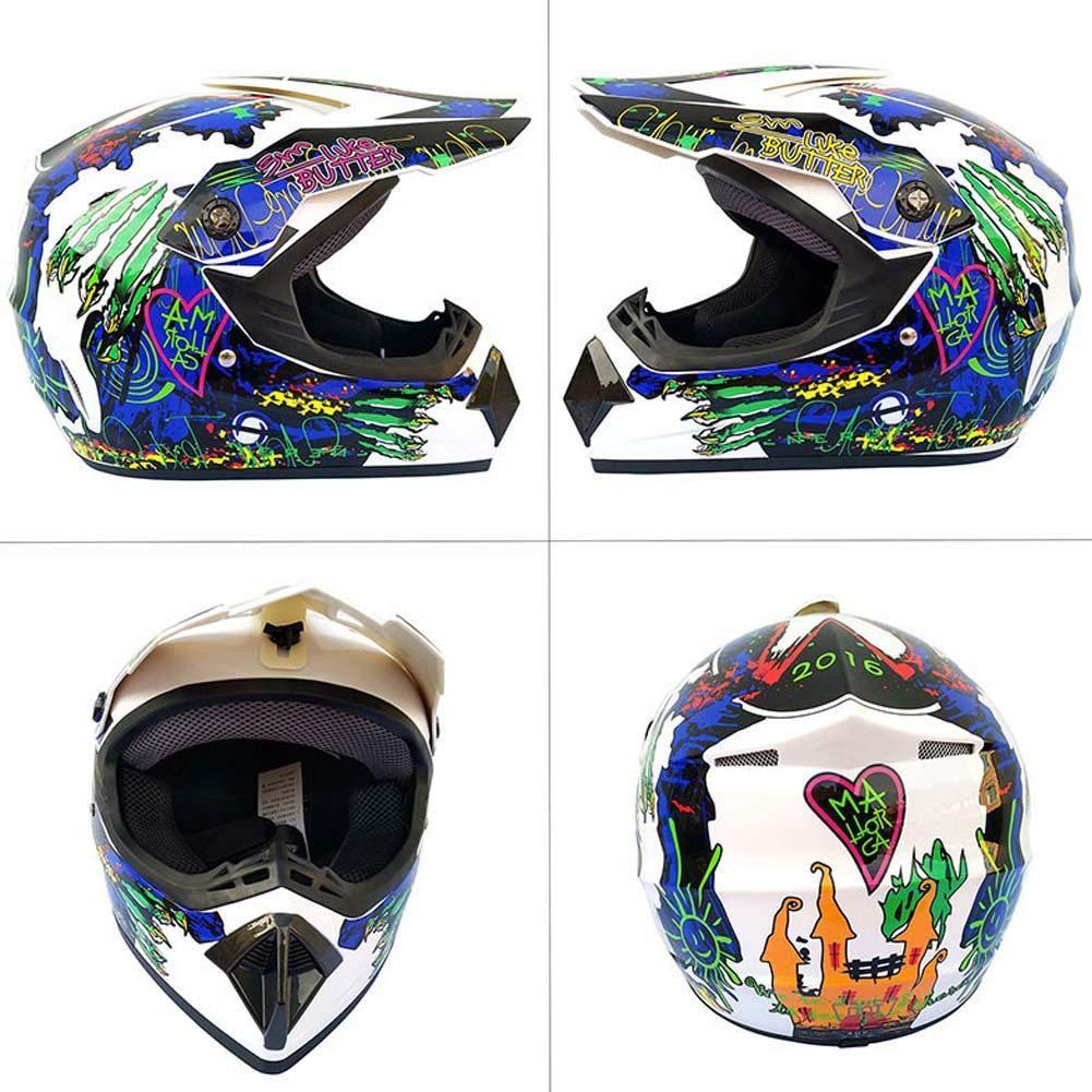 Beesuya Set Casco con Maschera Occhiali E Guanti da Uomo Quattro Stagioni Casco Cross Motocross da Corsa su Strada 4 Pezzi Expedient