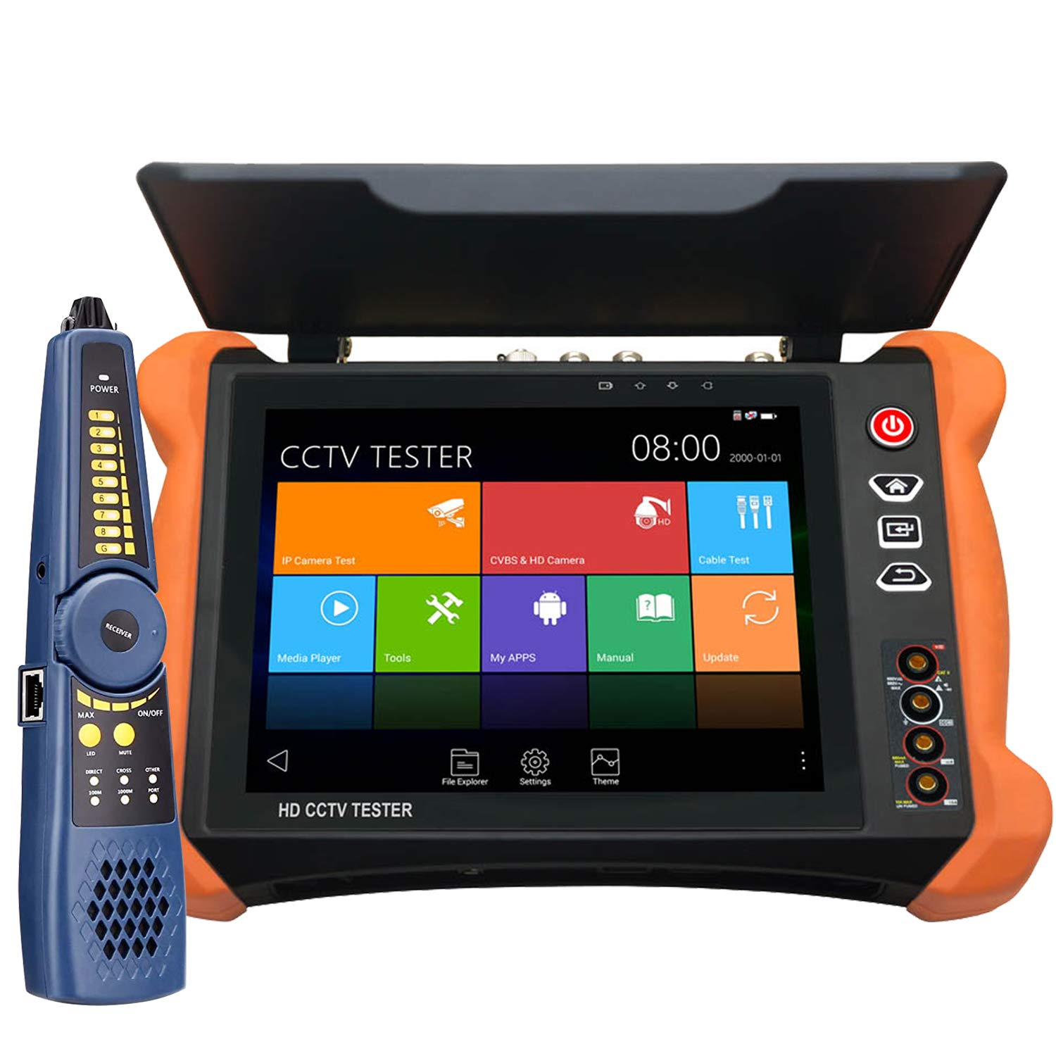 Rsrteng X9-MOVTADHS Full Features 4K CCTV Camera Tester 8-inch IPS Touch Screen Monitor 2048x1536 CCTV Tester with HDTVI HDCVI AHD SDI IP Camera Support DMM OPM VFL TDR Features POE WiFi H.265 HDMI