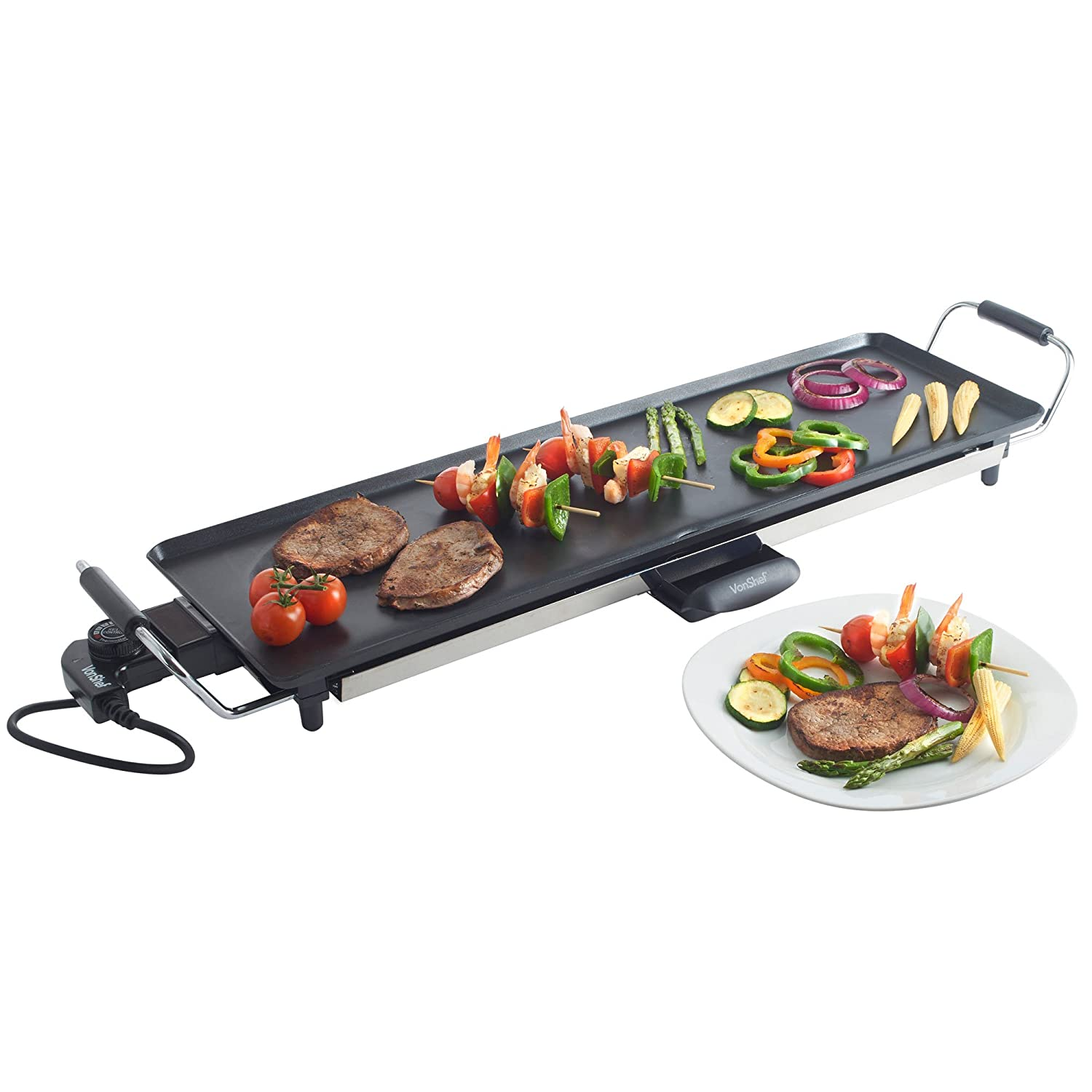 5b15c9bc718d Buy VonShef Electric XL Teppanyaki Style Barbecue Table Grill Griddle with  Adjustable Temperature and 8 Spatulas
