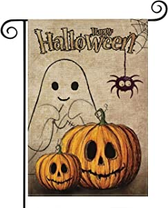 Happy Halloween Fall Garden Flag Vertical Double Sided Halloween Flag 12.5 x 18 Inches Pumpkin Garden Flag Halloween Decorative (Garden Size-12.5 x 18)