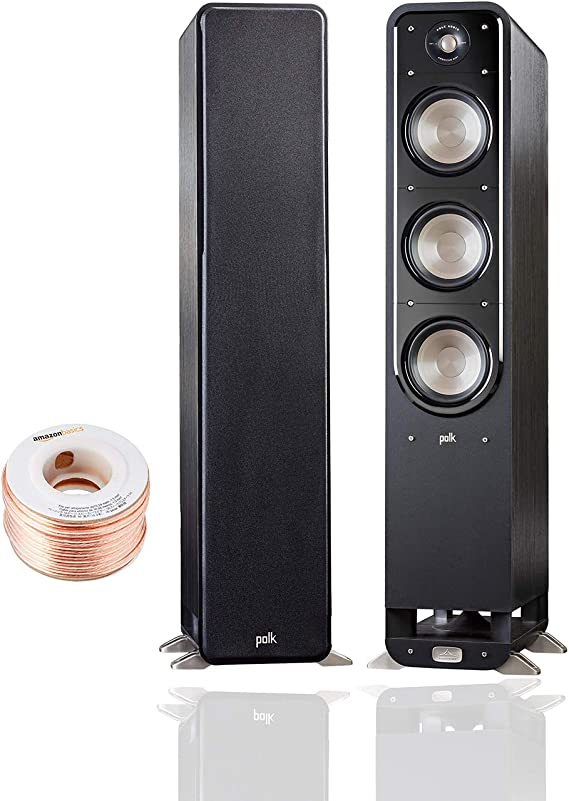 Polk Audio Signature Series S60 Floor Standing Speaker (Pair) with Amazon Basics 14 Gauge 50' Wire Cable | American HiFi Surround Sound | Stylish Looks