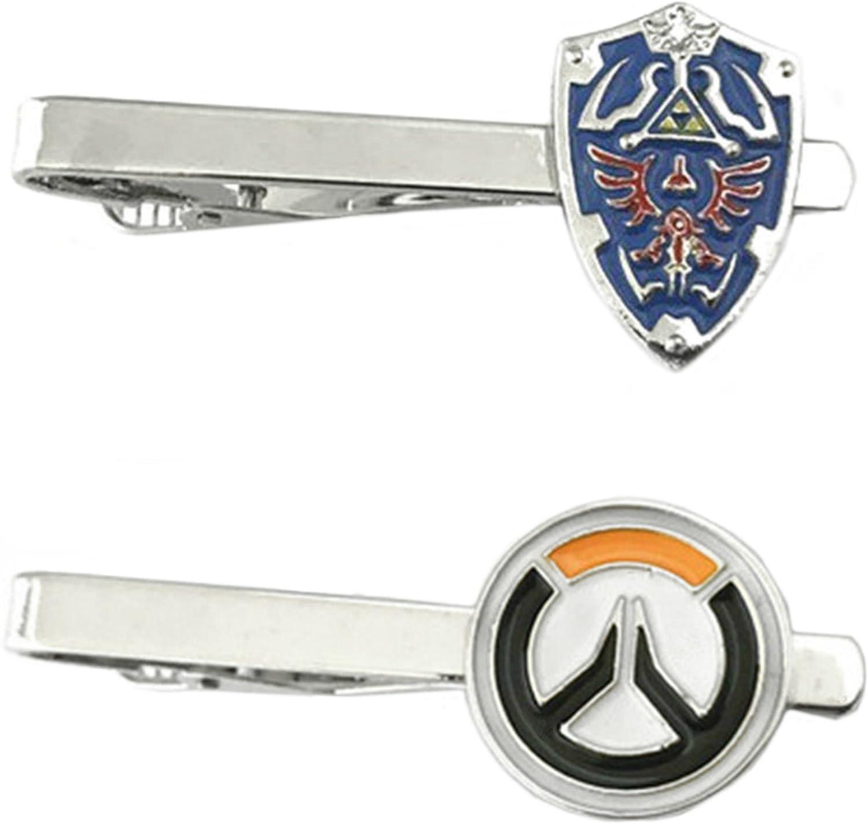 Outlander Videojuegos – Legend of Zelda Shield & Overwatch – Juego de 2 broches de corbata para boda con logo de superhéroe: Amazon.es: Joyería