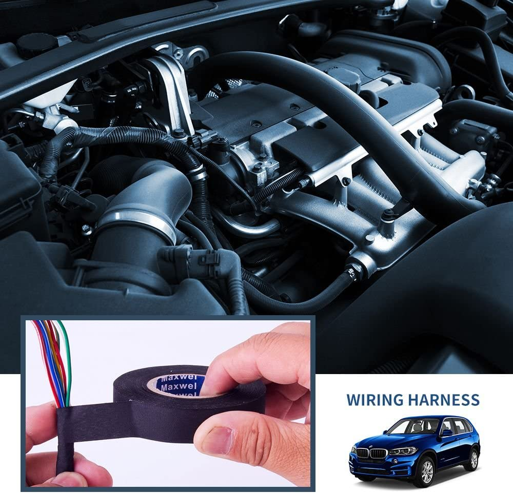 Automotive Wiring Harness Cloth Tape - Maxwel VERSAF51217 Chemical Fiber Cloth High Temp Wire Harness Wrapping Tape for Auto Electrical Wrap, Protection, Insulation 19MM × 25M Pack of 1 Piece: Car Electronics
