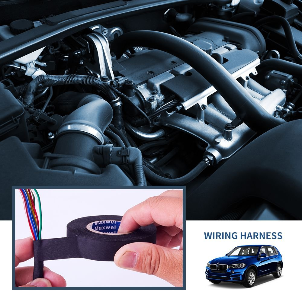 Wire Loom Harness Adhesive Cloth Fabric Tape for Automotive Electrical Wire harnessing Noise Damping Heat Proof 3//4 x 50  10 Pack Maxwel Manufacturing