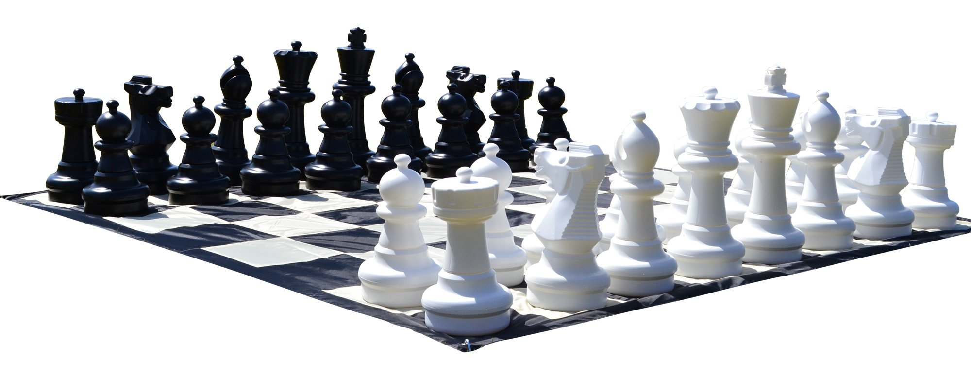 MegaChess Giant Premium Chess Set with 25 Inch Tall King and Giant Chess Mat - Black and White