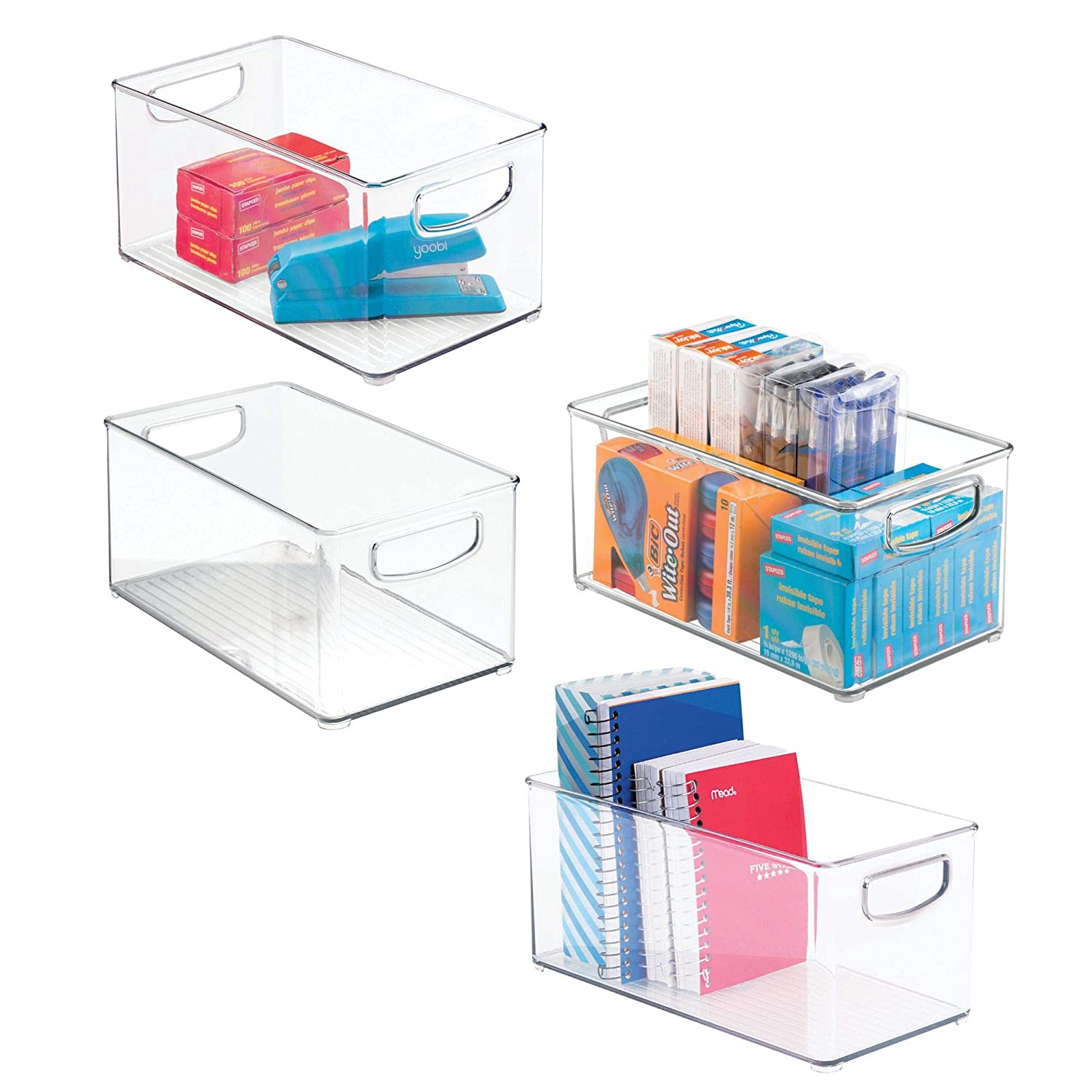 mDesign Office Organizer Bins for Pens, Pencils, Note Pads, Staples, Tape - Pack of 4, 10' x 6' x 5', Clear 10 x 6 x 5 MetroDecor 6338MDO
