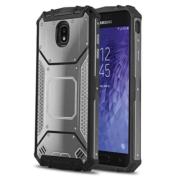 Phone Case for [Samsung Galaxy J7 Star (T-Mobile, MetroPCS)], [Alloy Series][Gun Metal] Aluminium [Metal Plate] Military Grade Heavy Duty Cover for ...