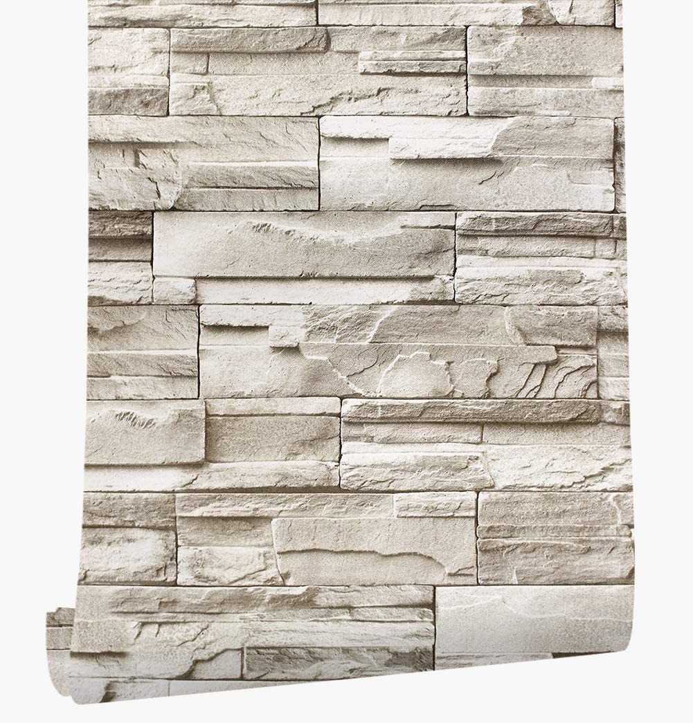 Haokhome 13991 Faux Stacked Stone Peel And Stick Wallpaper Taupe Tan Brick Self Adhesive Contact Paper Price In Uae Amazon Uae Kanbkam