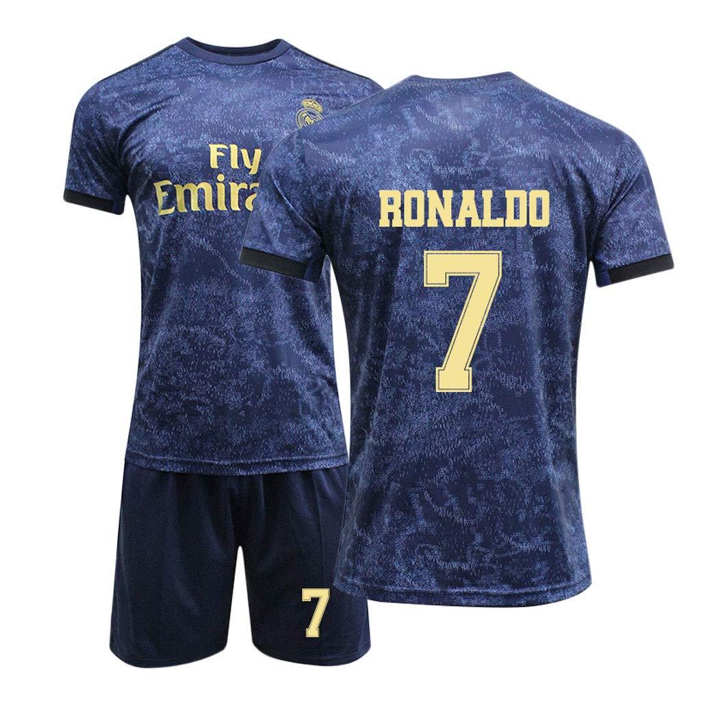 Azar Football Suit Coupe du Monde Fan Sports T-Shirt De Football pour Enfants Jeunes Adultes Real Madrid 2019-2020 Ensemble De T-Shirts Home