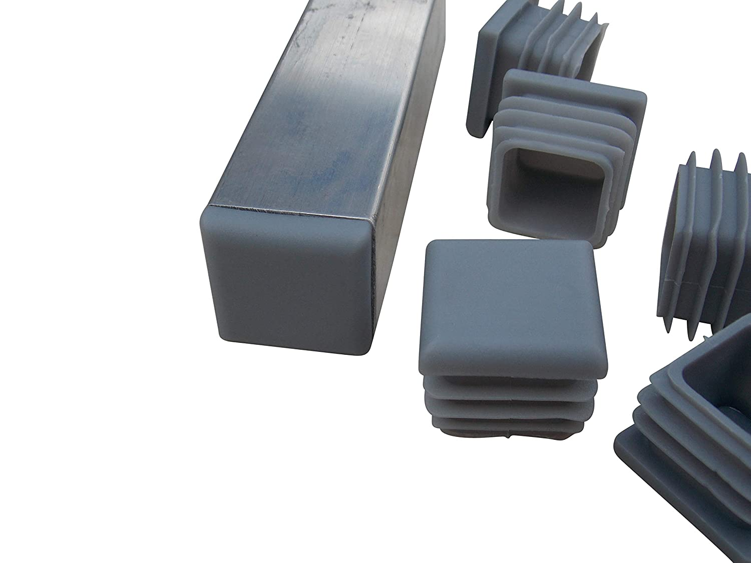 1 inch Square Plastic Plugs-Tubing End Caps 40 Count. Gray Durable Chair Glides
