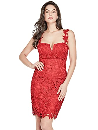 69ad9348f8 Guess Abito Donna Rosso: Amazon.co.uk: Clothing