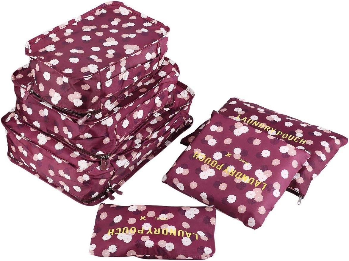 FHJ 6 unids/Set Bolsa de Almacenamiento de Viaje para Ropa ordenada Organizador Bolsa Maleta hogar Armario Divisor contenedor Embalaje Bolsa de lavandería