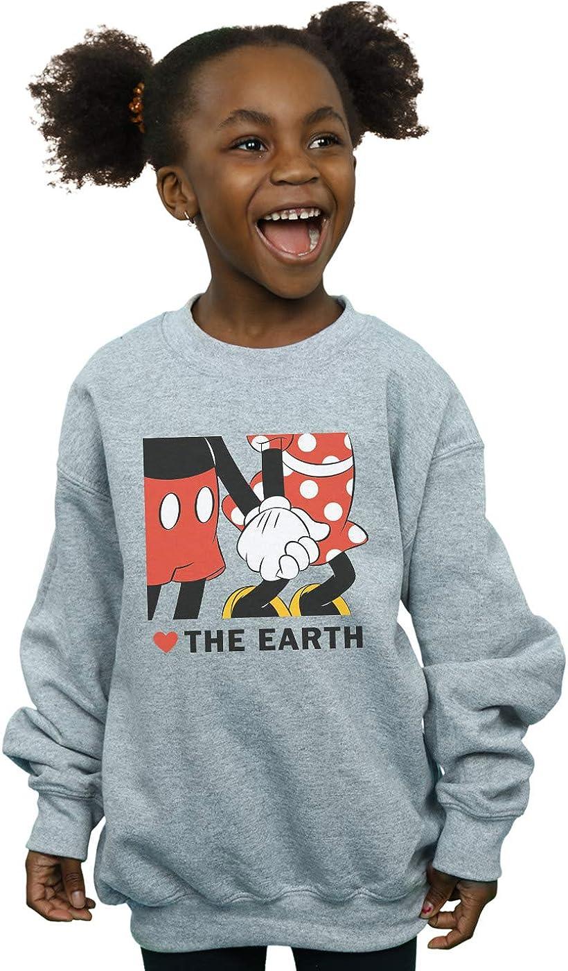 Disney Girls Mickey Mouse Heart The Earth Sweatshirt