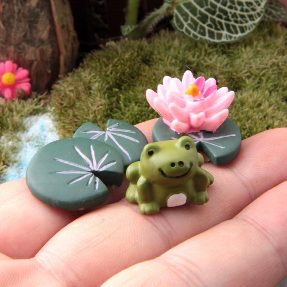 COOLTOP Miniature Frog Set Fairy Garden Dollhouse Miniature Plant Pots Bonsai Craft Micro Landscape DIY Decor Set
