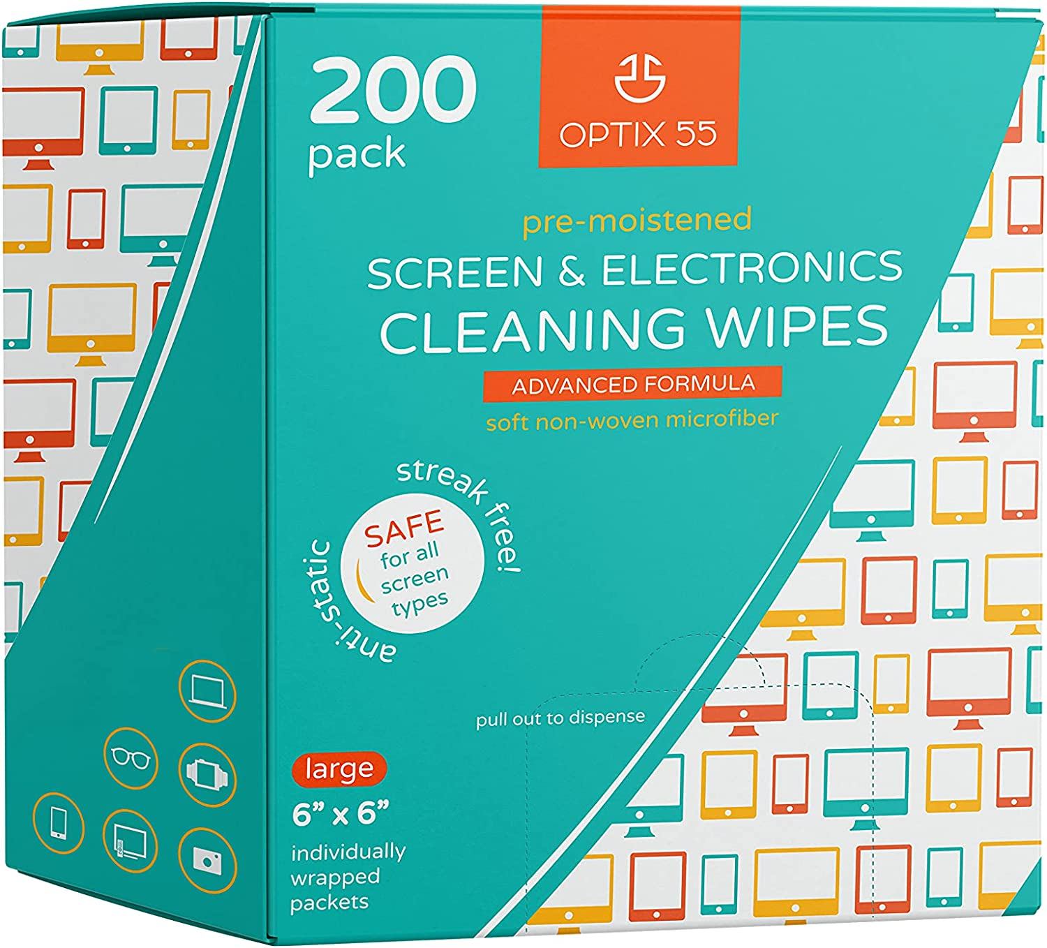 Screen & Electronic Cleaning Wipes, 200 Pre-Moistened Individual Wrapped (6