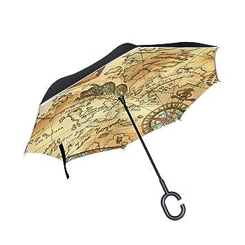 coosun Viejo Pirata Mapa con rosa de los vientos doble capa paraguas invertido Reverse paraguas para