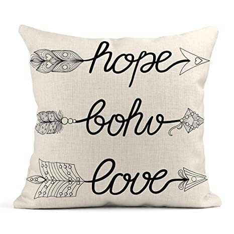 Kinhevao Cojín Boho Love Hope Flechas Signos Plumas para ...