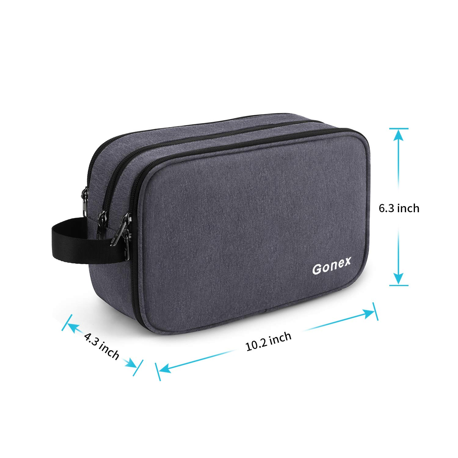 Gonex Travel Toiletry Bag for Men and Women Dry Wet Separated Dopp Kit Shaving Bag Cosmetic Makeup Organizer Large Business Overnight Trip Daily Organizer with YKK Zippers, Navy