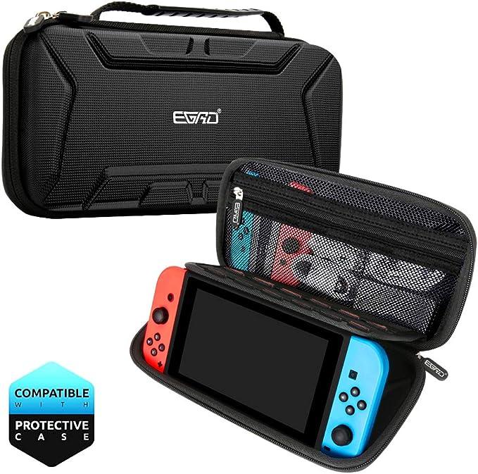 Funda para Nintendo Switch, Accesorios para Nintendo Switch, Carcasa de Protección Rigid Anti-Choques/Arañazo Llevar la 15 Juegos Adaptador Consola Cable Otros Accesorios Nintendo Switch Viaje Case: Amazon.es: Videojuegos