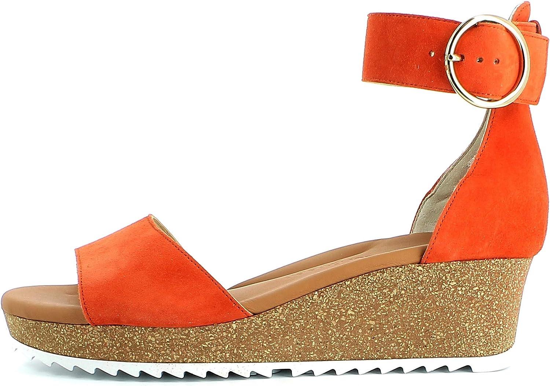 Paul Green Femme Sandales 7386, Dame Sandales compensées Orange