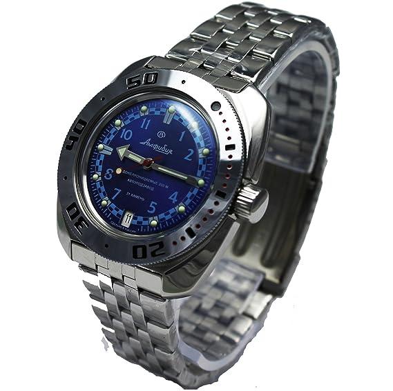 Vostok 710440 de anfibios/2416b ruso Militar reloj automático buzos 200 M color azul: Vostok: Amazon.es: Relojes