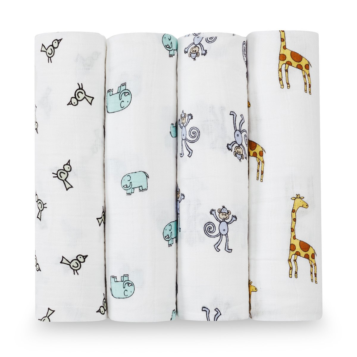 aden + anais Classic Swaddle Baby Blanket, 100% Cotton Muslin, Large 47 X 47 inch, 4 pack, Jungle Jam, Giraffe / Monkey / Elephant