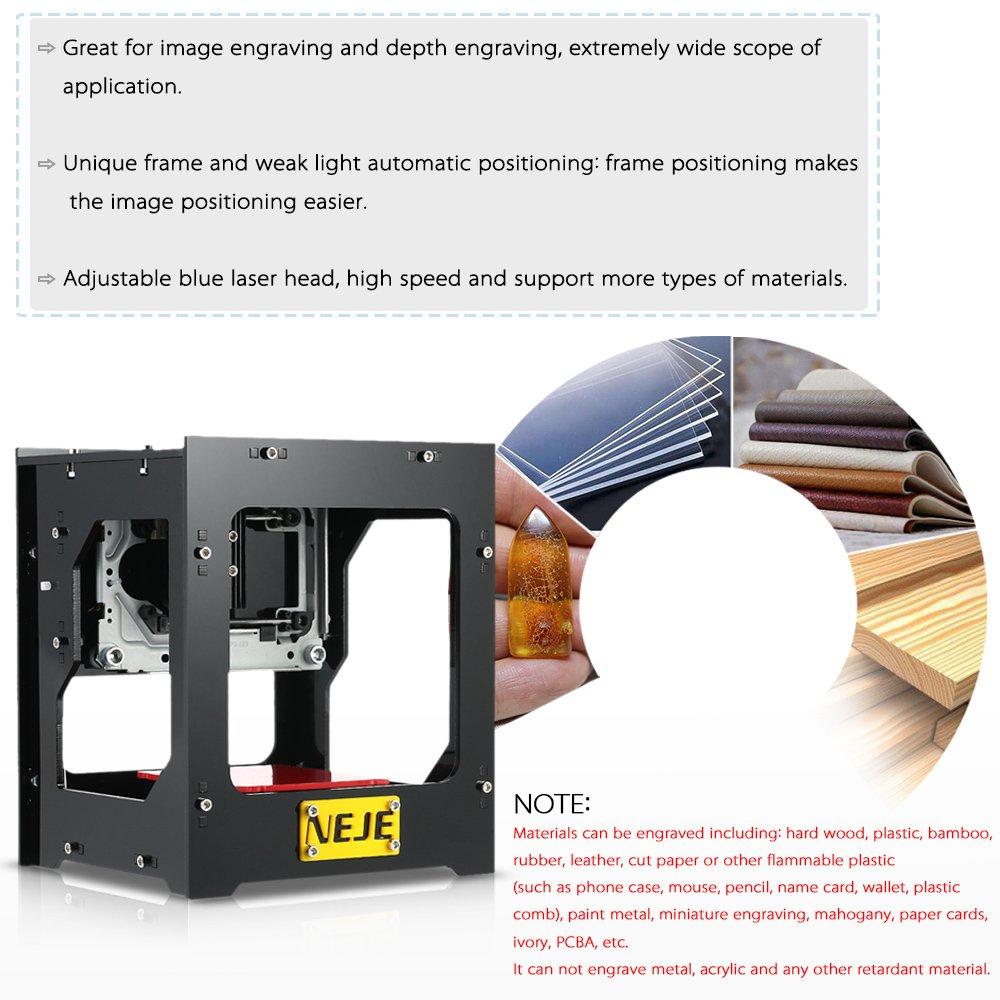 Kkmoon DK-8-FKZ Nuevo grabador láser USB de alta velocidad de 1500 mW Carver Grabado automático de bricolaje Máquina de tallado Funcionamiento fuera de ...
