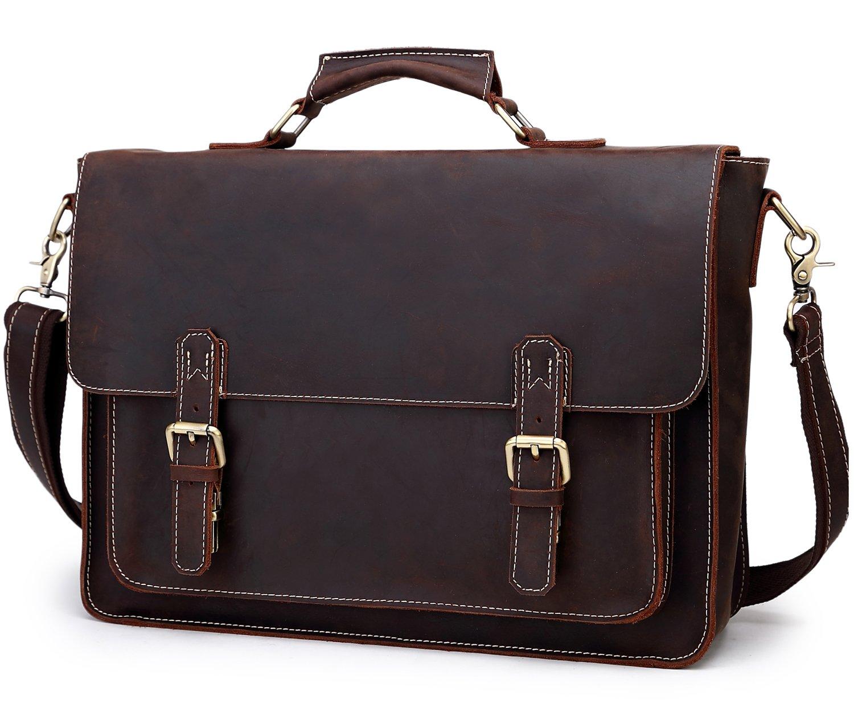 Berchirly Real Leather Lawyer Briefcase, 15.7 Laptop Messenger Bag Shoulder Tote Bag