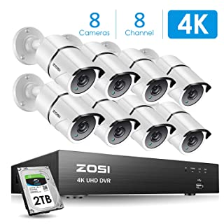 ZOSI 4K Ultra HD Security Cameras System, 8 Channel H.265+ 4K (3840x2160) Video DVR, 8 x 4K (8MP) Ip67 Bullet Weatherproof Surveillance Cameras, Motion Alert , 150ft Night Vision, with 2TB Hard Drive