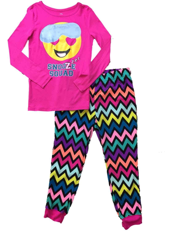 Girls Pink Sleep Mask Emoji Pajamas Fuzzy Fleece Silly Snooze Squad Sleep Set