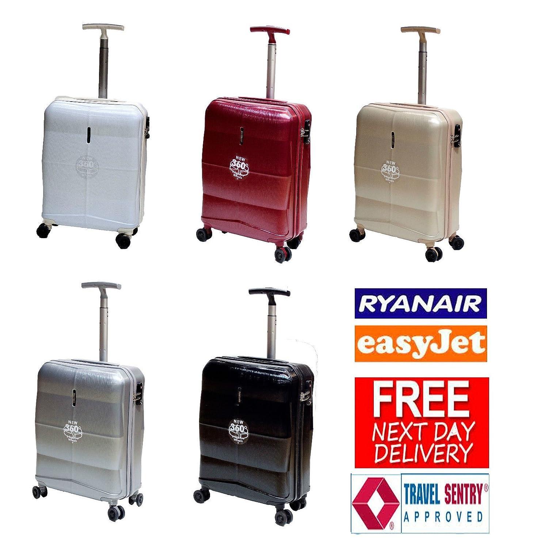 Nueva Ryanair y Easyjet cabina aprobado Hard Shell 4 ruedas giratorias Cabin maleta en 5 colores Blanco beige/azul oscuro carry on: Amazon.es: Equipaje