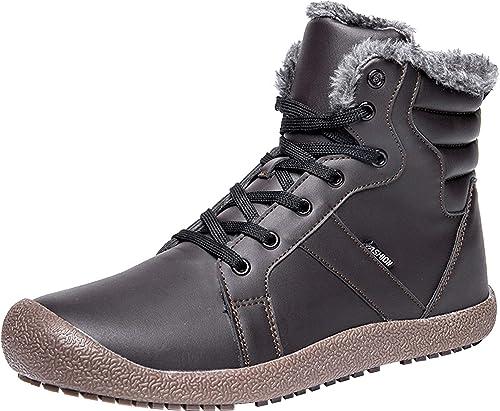 5c78d3ddeec20 Amazon.com | L-RUN Mens Winter Snow Boots Ankle Outdoor Warm Fur ...