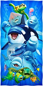Dawhud Direct Ocean Animals Dolphin Shark Turtle Whale Selfie Super Soft Plush Cotton Beach Bath Pool Towel