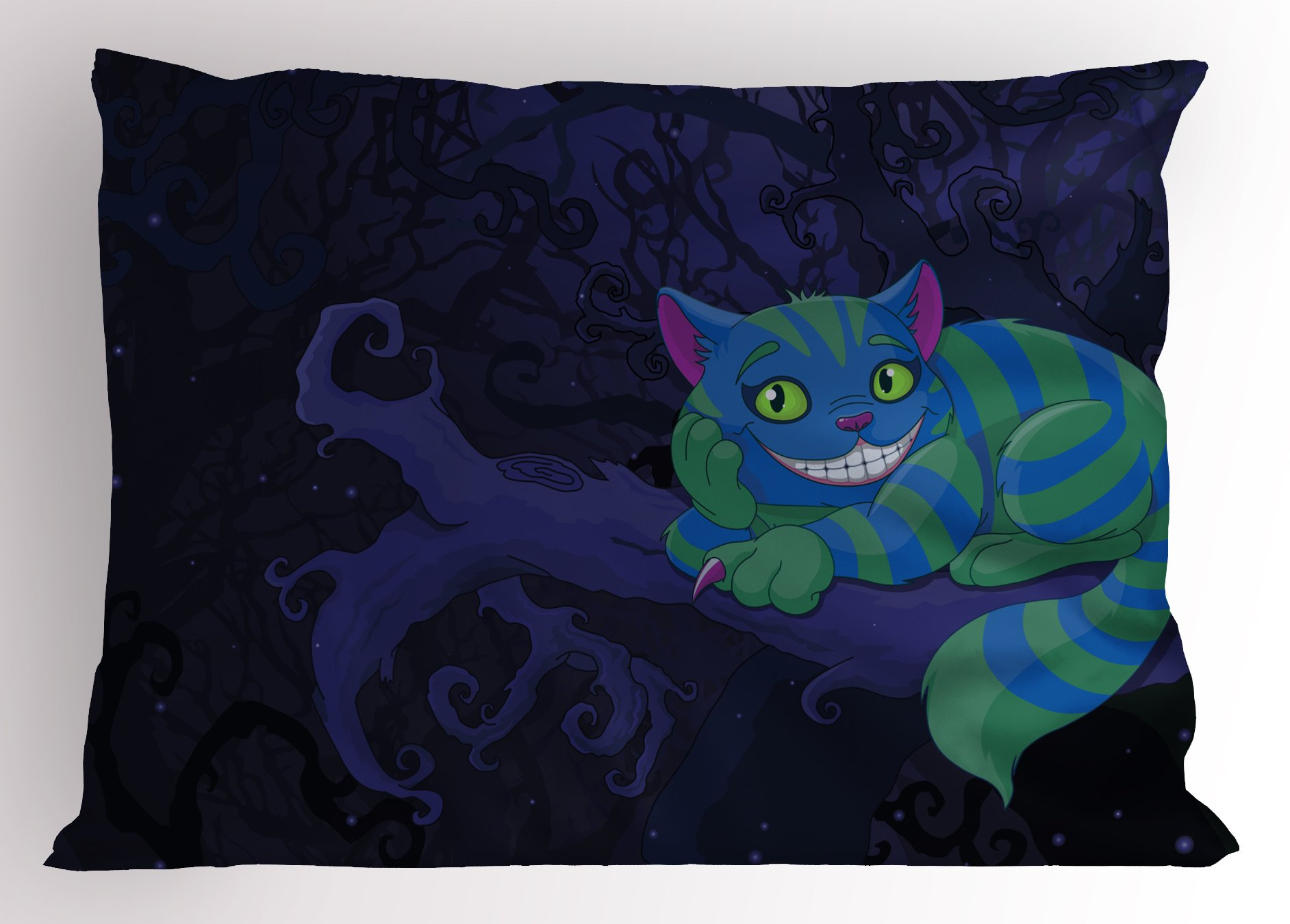 Lunarable Alice in Wonderland Pillow Sham, Chester Cat Sitting on Branch Fairytale Forest with Character, Decorative Standard Size Printed Pillowcase, 26 X 20 Inches, Green Blue Purple
