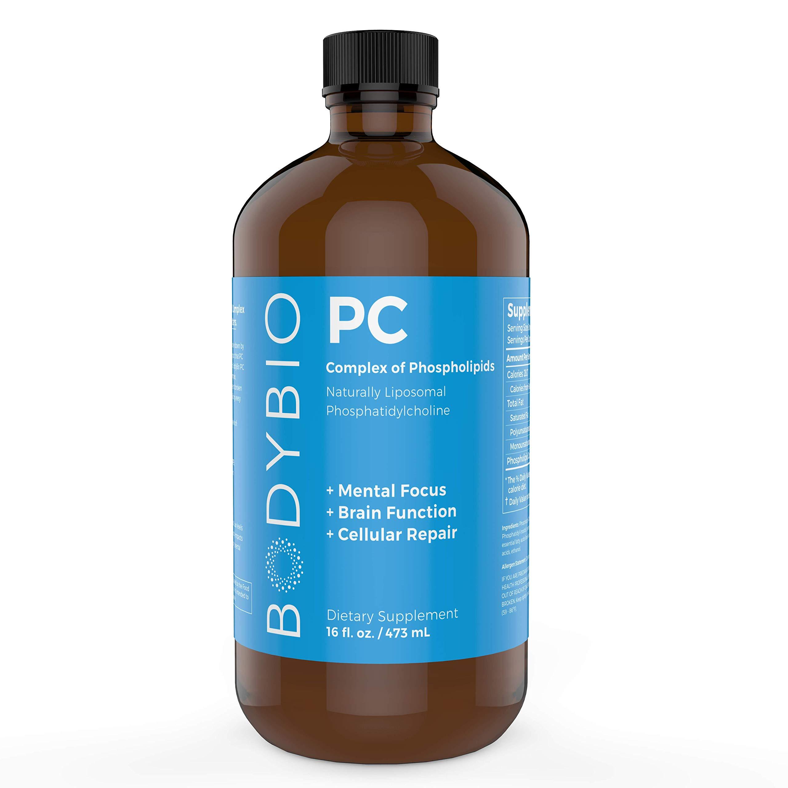 BodyBio - PC Phosphatidylcholine Liquid, Phospholipid Complex, 16oz